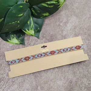 ZAD Beaded Leather Snap Choker Necklace